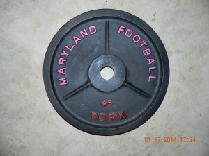 York had a Custom Plate Program which offered colleges & others the ability to customize their weight plates. Shown here are examples from Disney and Maryland football. This program is from the 1990s.